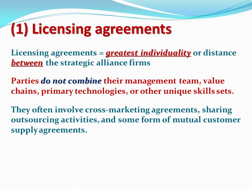 (1) Licensing agreements