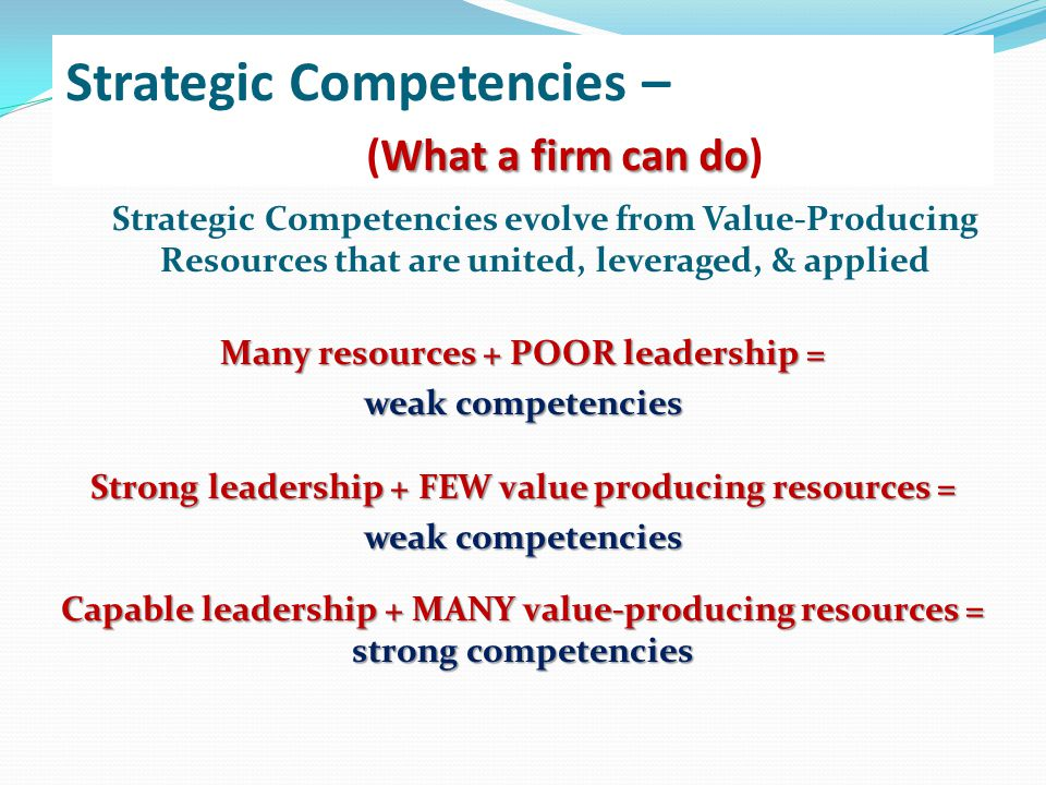 Strategic Competencies – (What a firm can do)