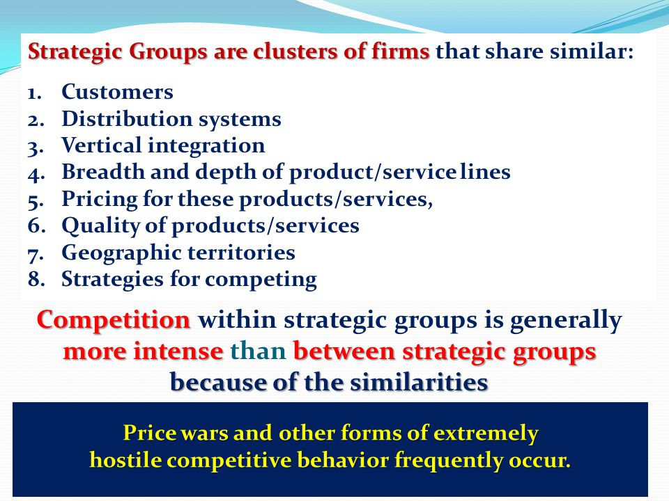 Competition within strategic groups is generally