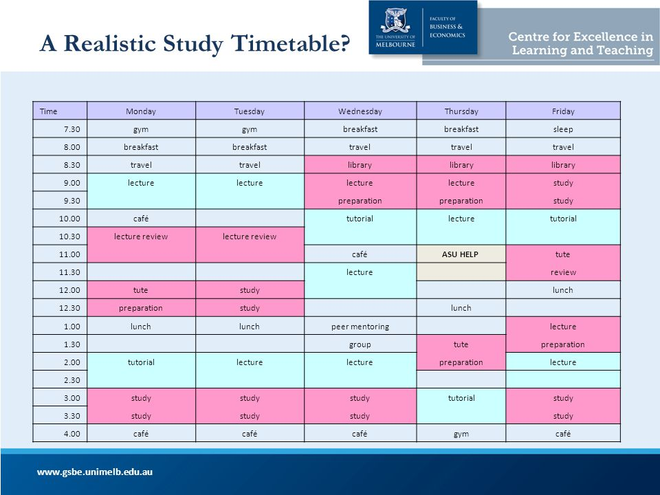 A Realistic Study Timetable