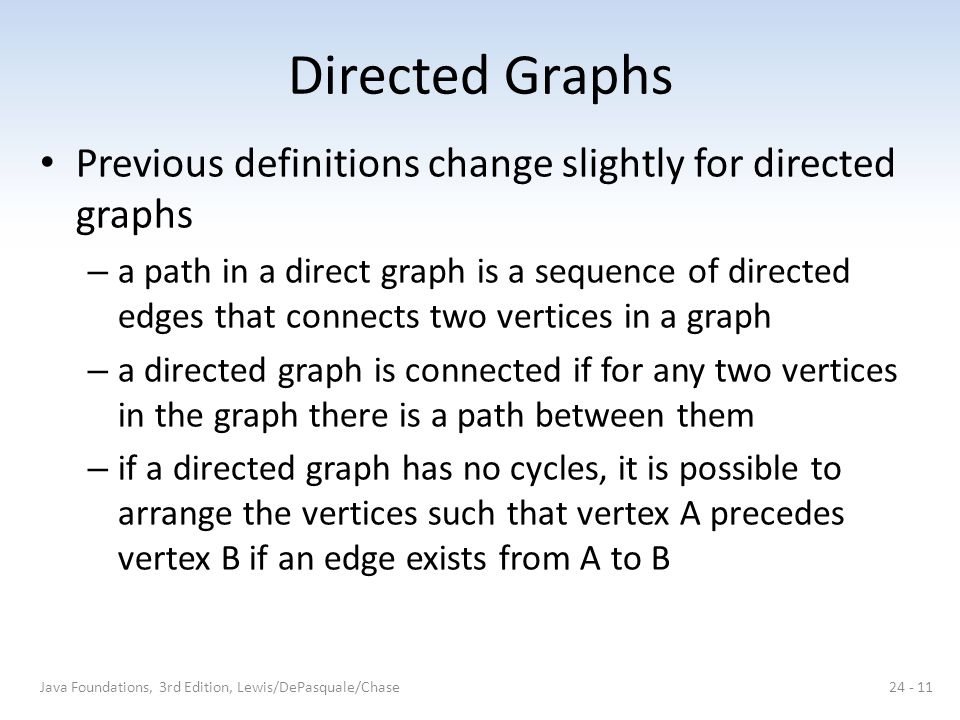Directed Graphs Previous definitions change slightly for directed graphs.
