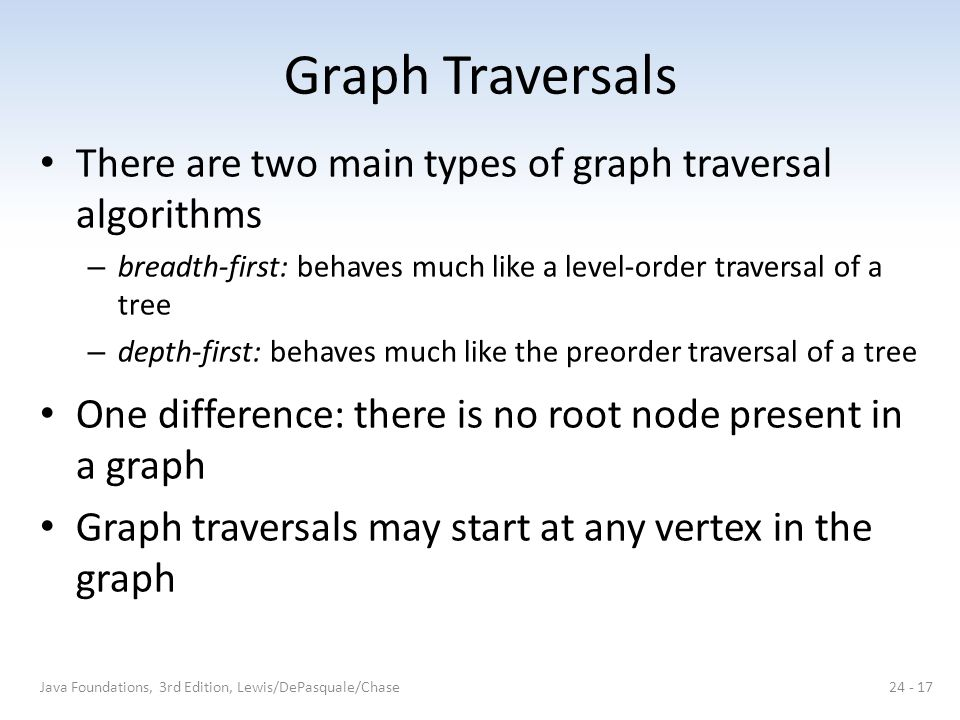 Graph Traversals There are two main types of graph traversal algorithms. breadth-first: behaves much like a level-order traversal of a tree.