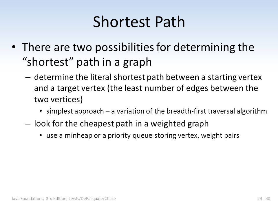 Shortest Path There are two possibilities for determining the shortest path in a graph.