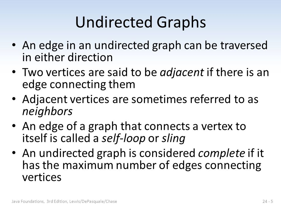 Undirected Graphs An edge in an undirected graph can be traversed in either direction.