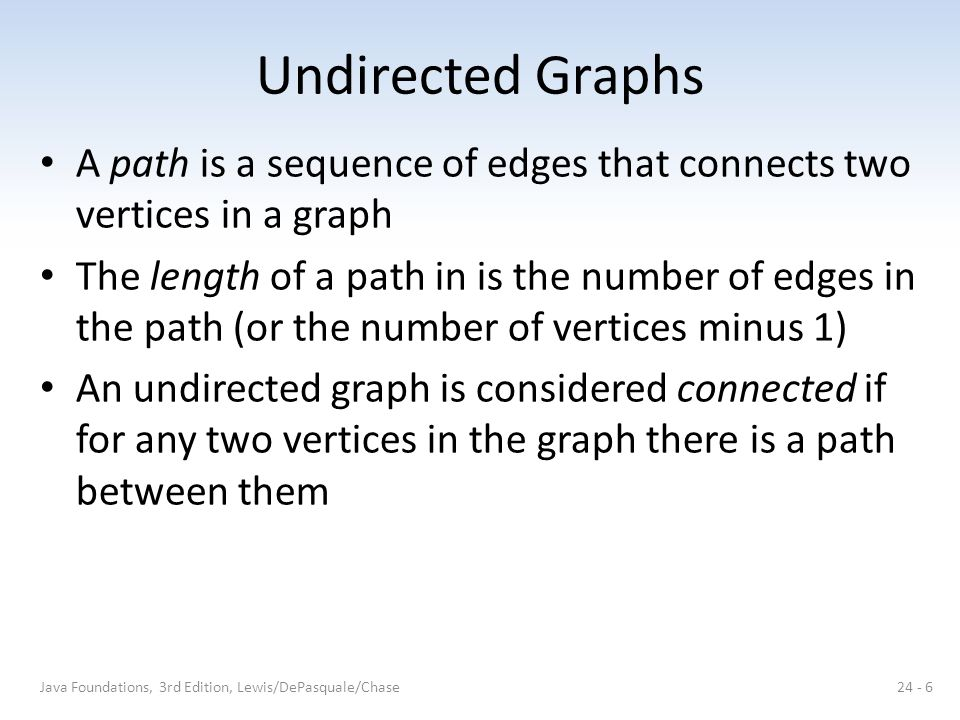 Undirected Graphs A path is a sequence of edges that connects two vertices in a graph.