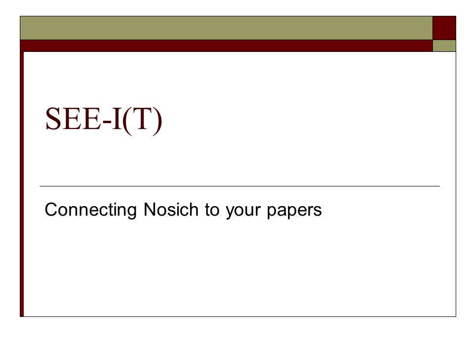 Connecting Nosich to your papers