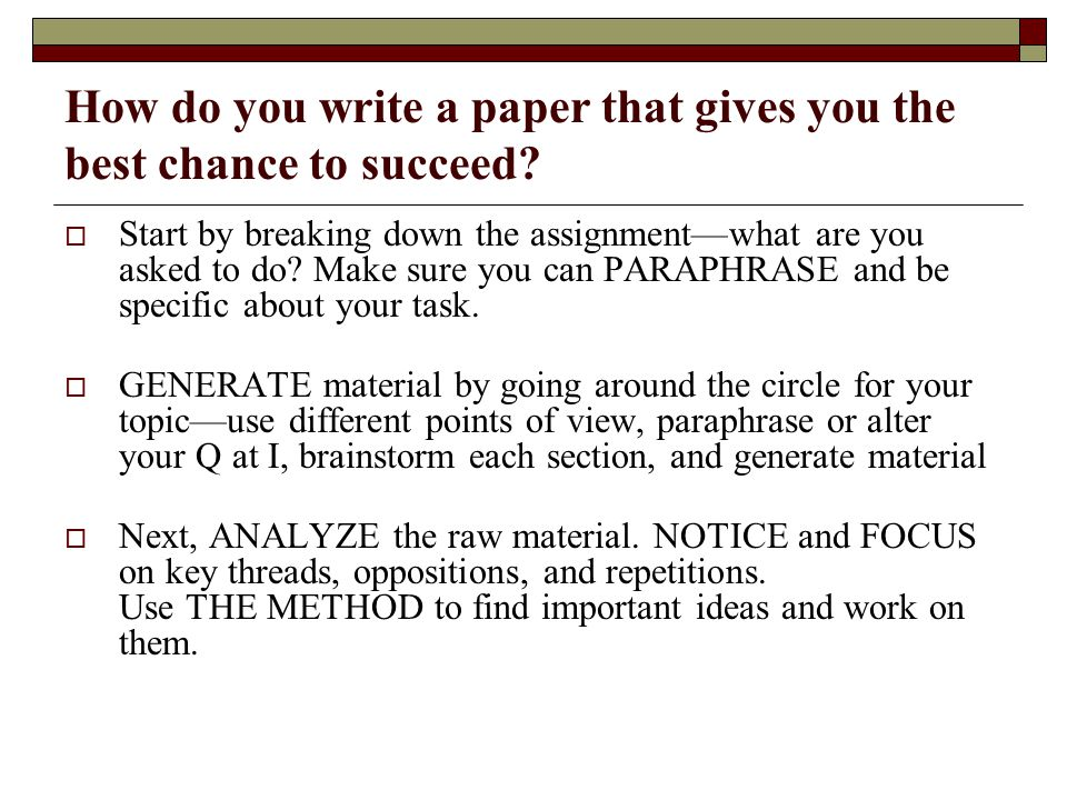 How do you write a paper that gives you the best chance to succeed