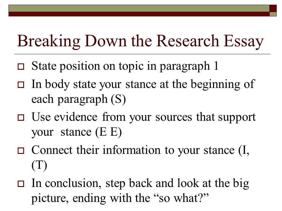Breaking Down the Research Essay