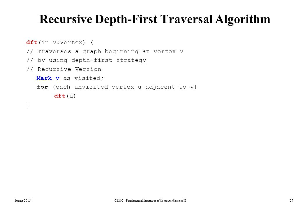 Recursive Depth-First Traversal Algorithm