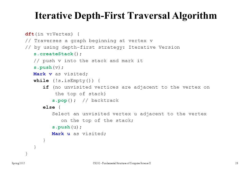 Iterative Depth-First Traversal Algorithm