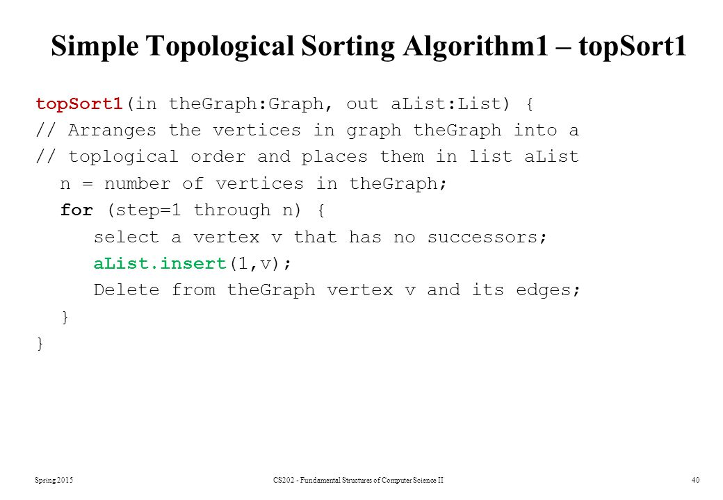Simple Topological Sorting Algorithm1 – topSort1