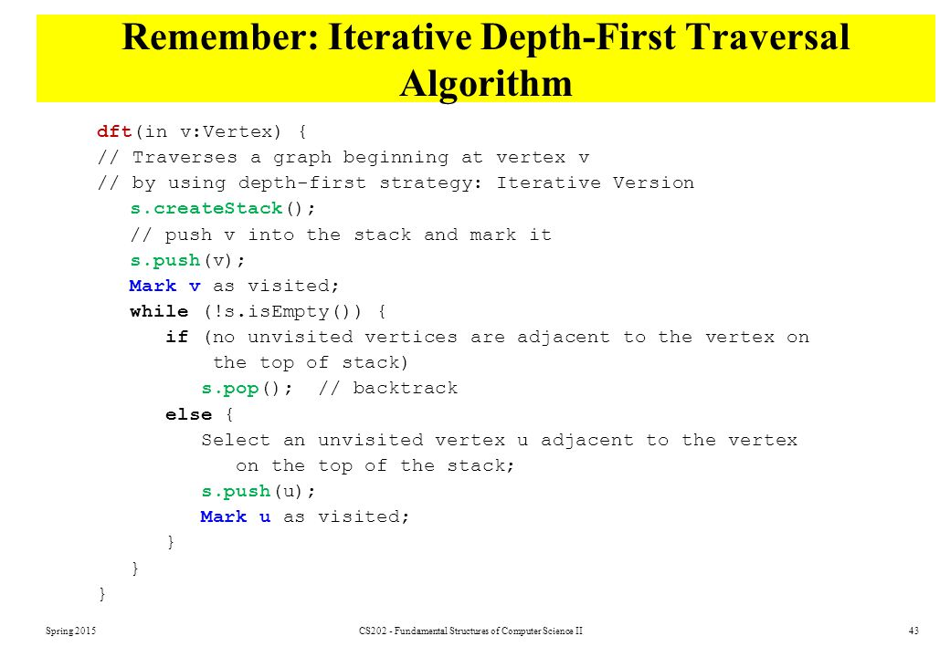 Remember: Iterative Depth-First Traversal Algorithm