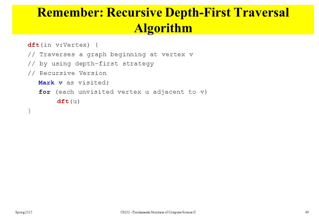 Remember: Recursive Depth-First Traversal Algorithm