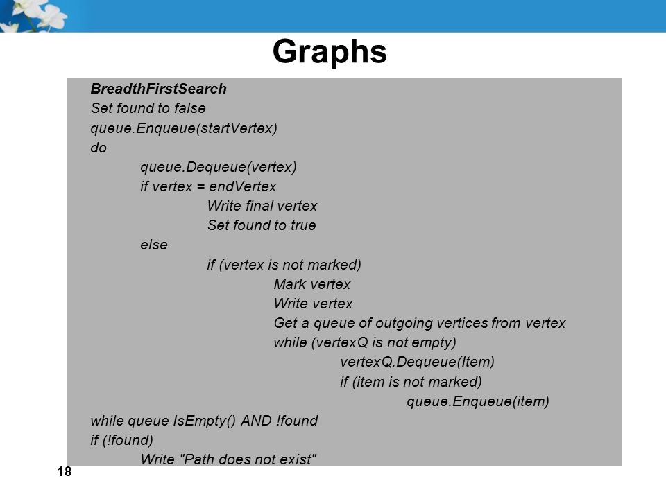Graphs BreadthFirstSearch Set found to false