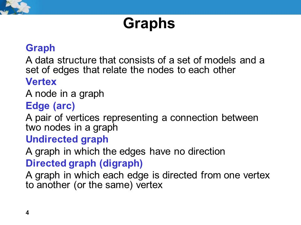 Graphs Graph. A data structure that consists of a set of models and a set of edges that relate the nodes to each other.