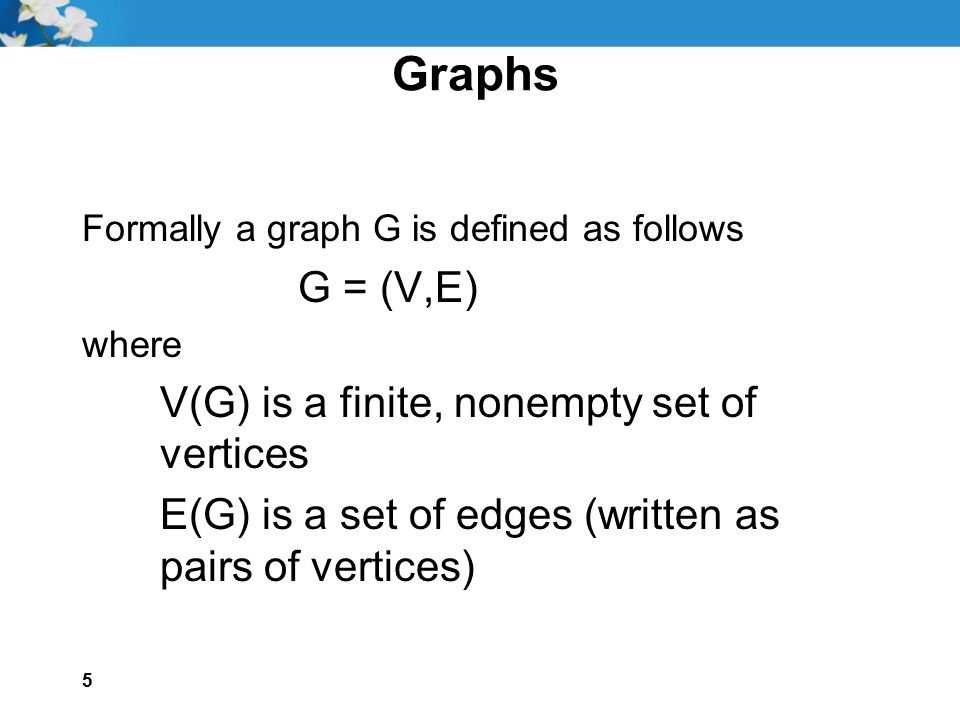 Graphs V(G) is a finite, nonempty set of vertices