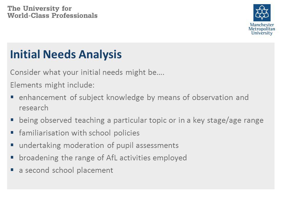 Initial Needs Analysis