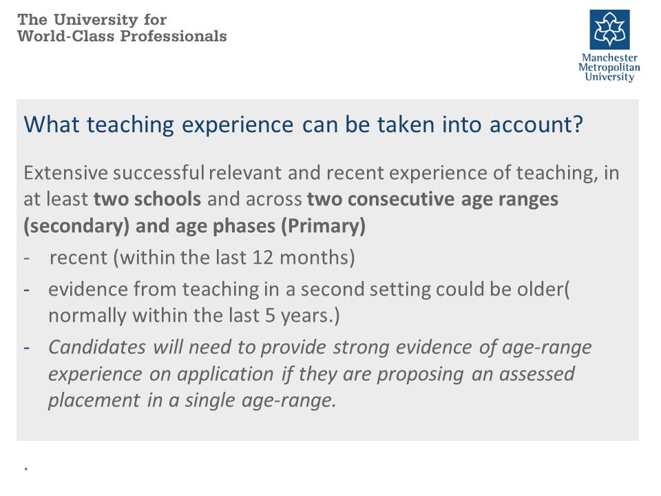 What teaching experience can be taken into account