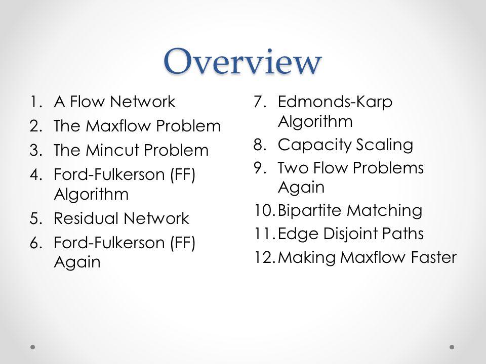 Overview A Flow Network The Maxflow Problem The Mincut Problem