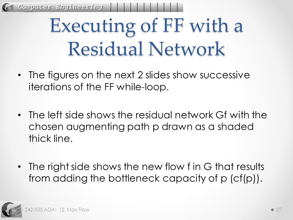 Executing of FF with a Residual Network