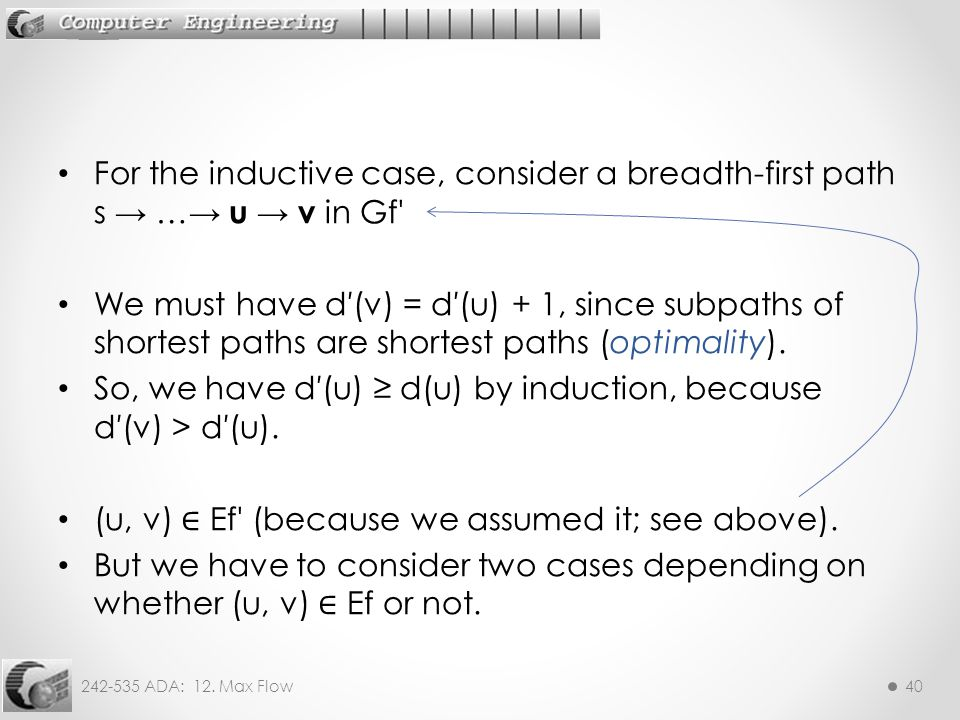 For the inductive case, consider a breadth-first path s → …→ u → v in Gf