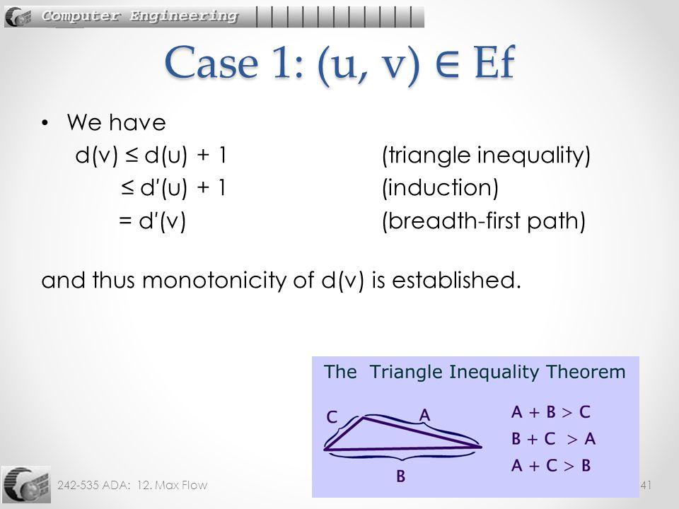 Case 1: (u, v) ∈ Ef We have d(v) ≤ d(u) + 1 (triangle inequality)