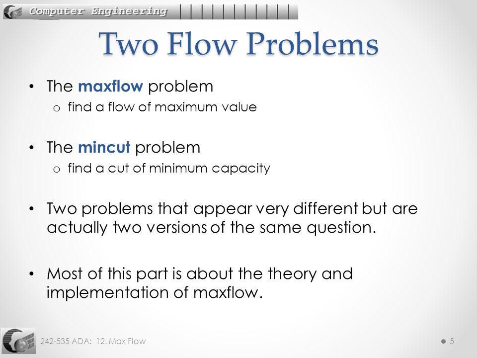 Two Flow Problems The maxflow problem The mincut problem
