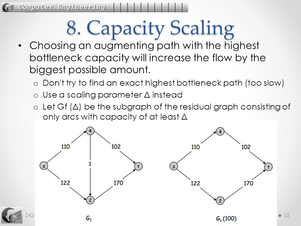 8. Capacity Scaling Choosing an augmenting path with the highest bottleneck capacity will increase the flow by the biggest possible amount.