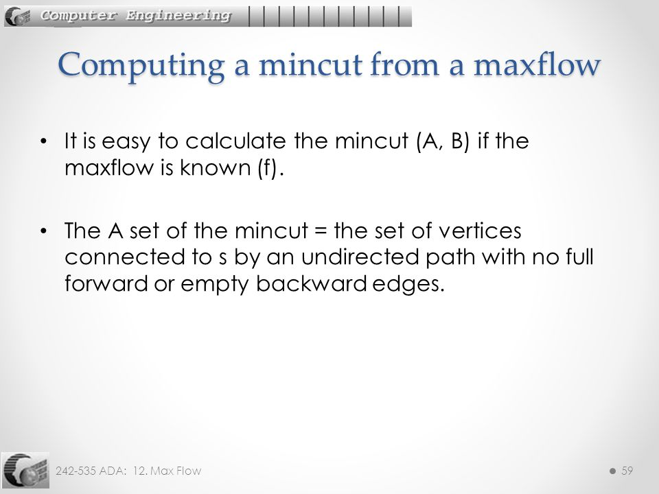 Computing a mincut from a maxflow