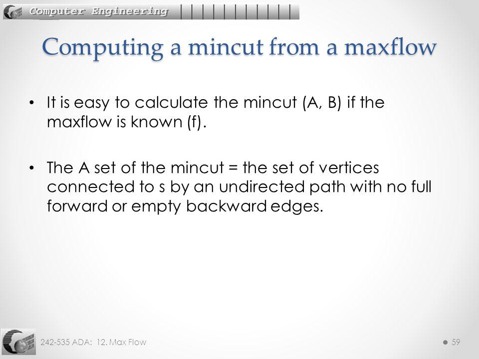 Computing a mincut from a maxflow