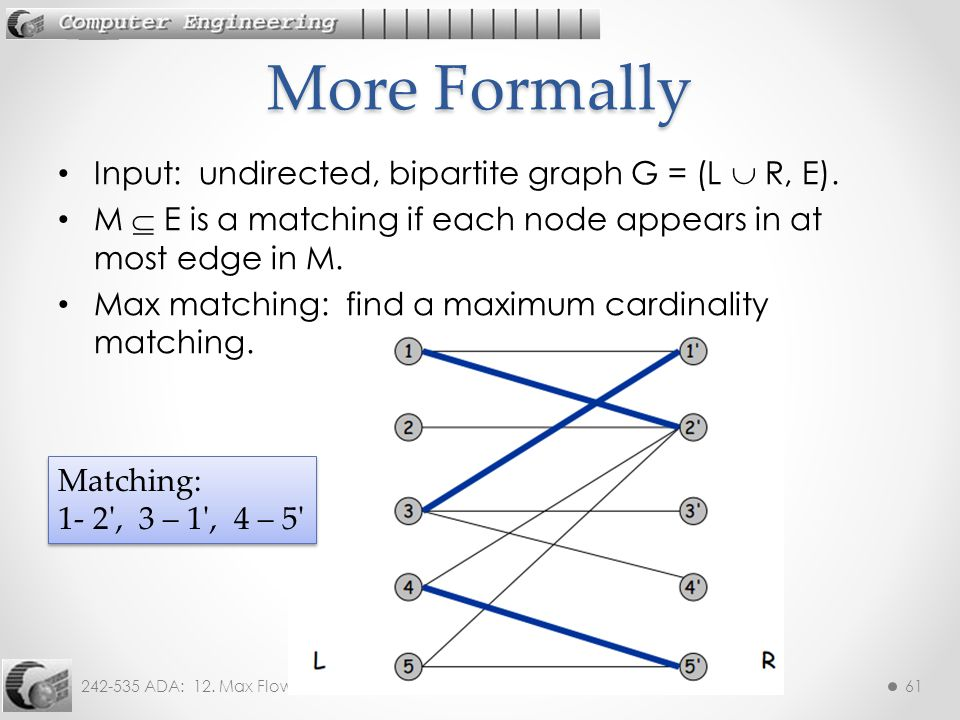 More Formally Input: undirected, bipartite graph G = (L  R, E).