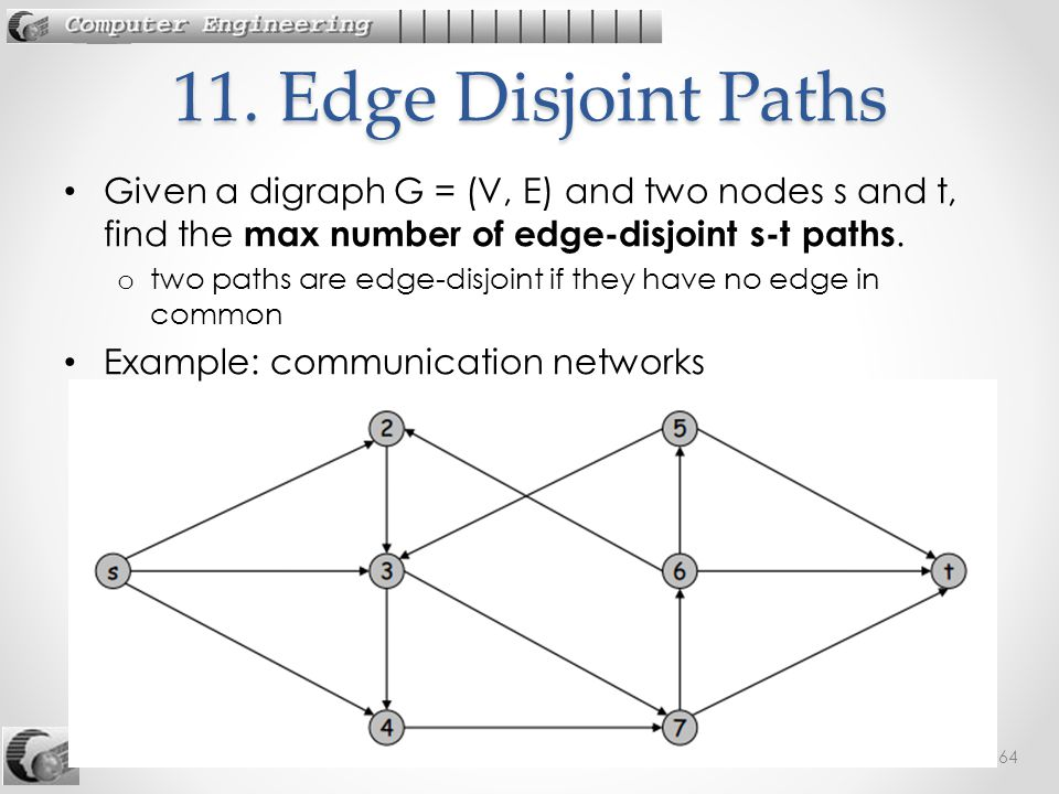 11. Edge Disjoint Paths Given a digraph G = (V, E) and two nodes s and t, find the max number of edge-disjoint s-t paths.
