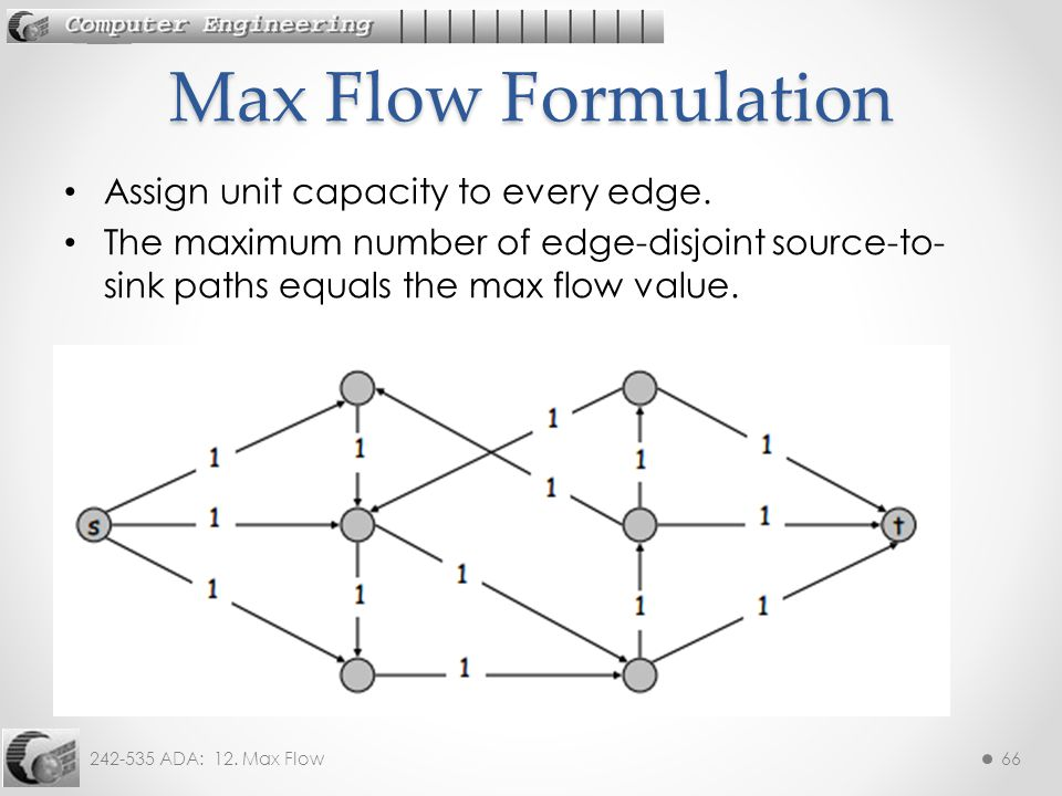 Max Flow Formulation Assign unit capacity to every edge.