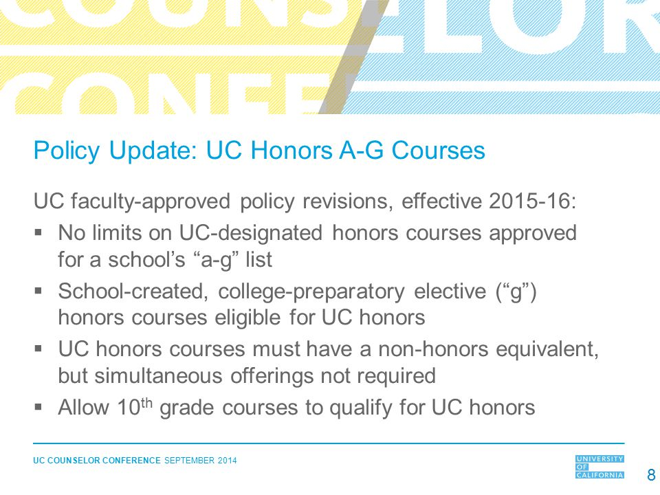 Policy Update: UC Honors A-G Courses