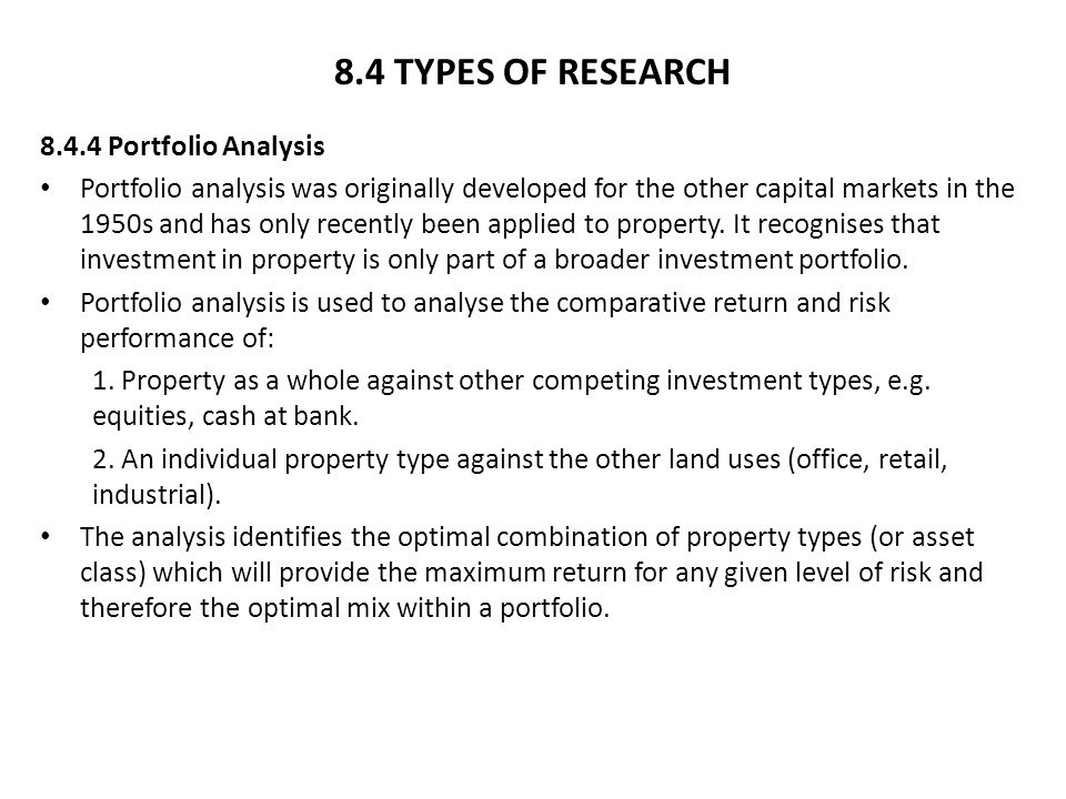 8.4 TYPES OF RESEARCH 8.4.4 Portfolio Analysis