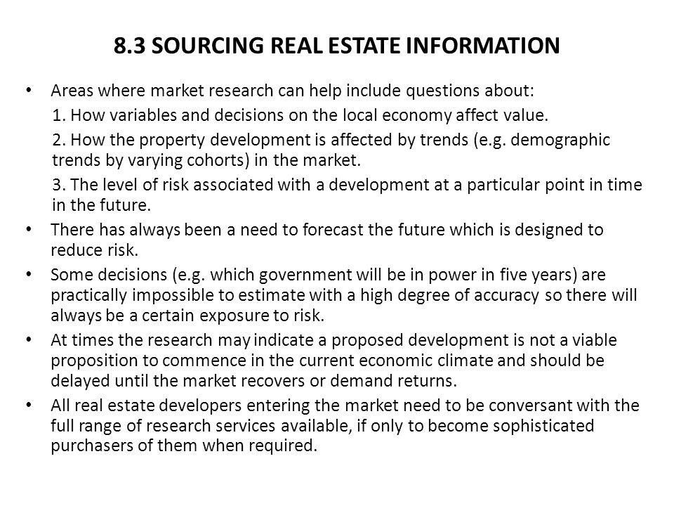 8.3 SOURCING REAL ESTATE INFORMATION