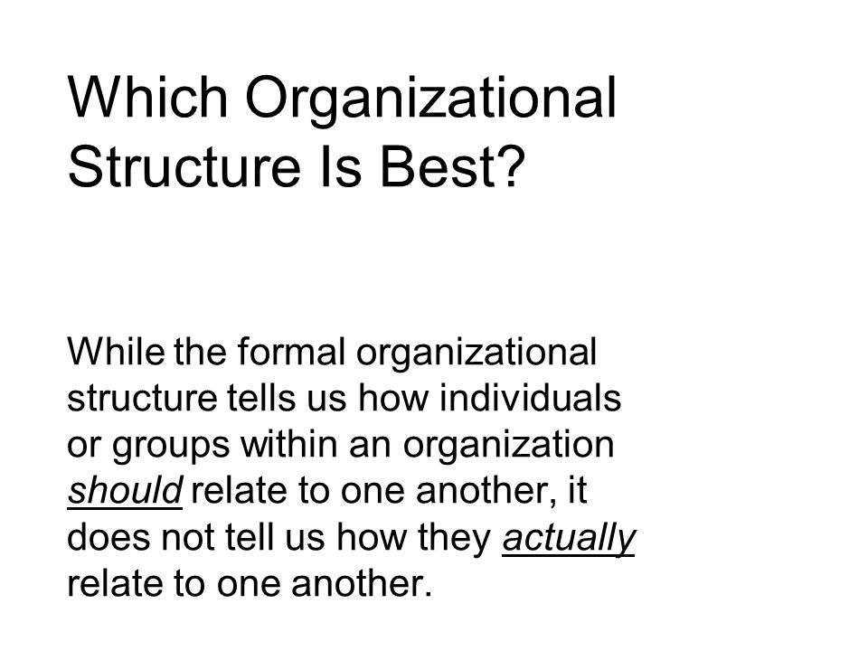 Which Organizational Structure Is Best