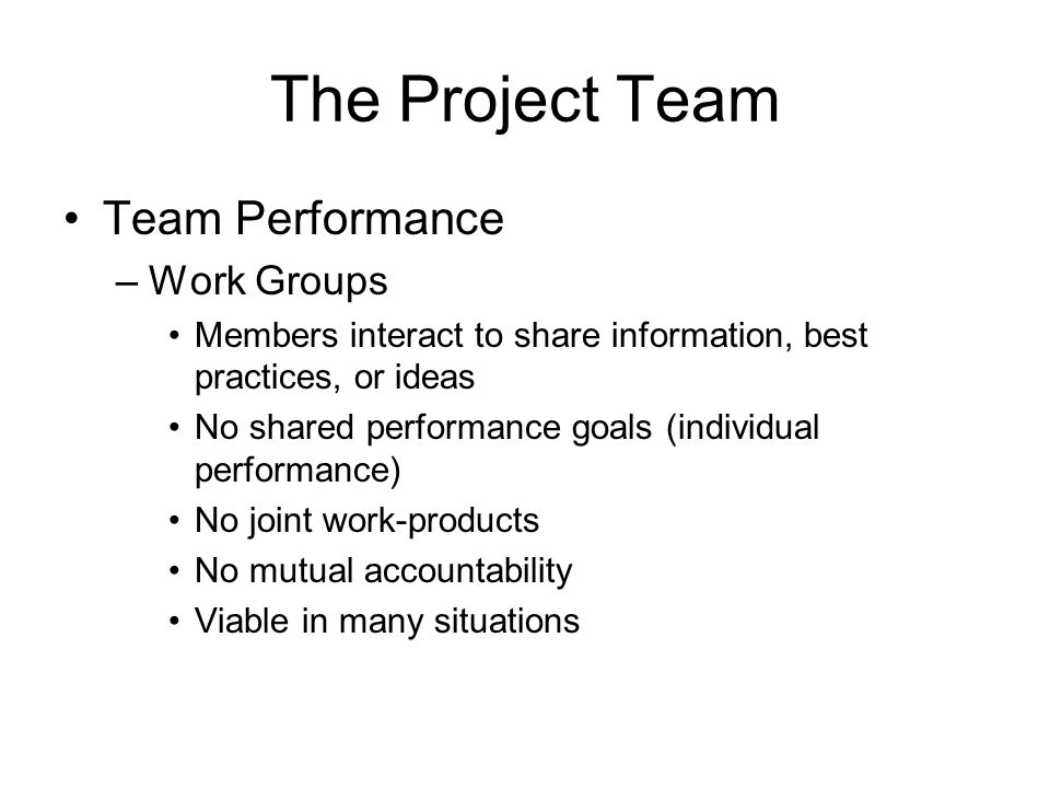 The Project Team Team Performance Work Groups