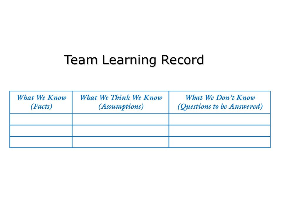 Team Learning Record