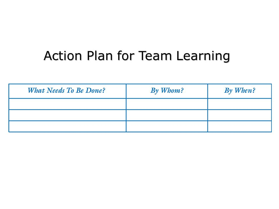 Action Plan for Team Learning