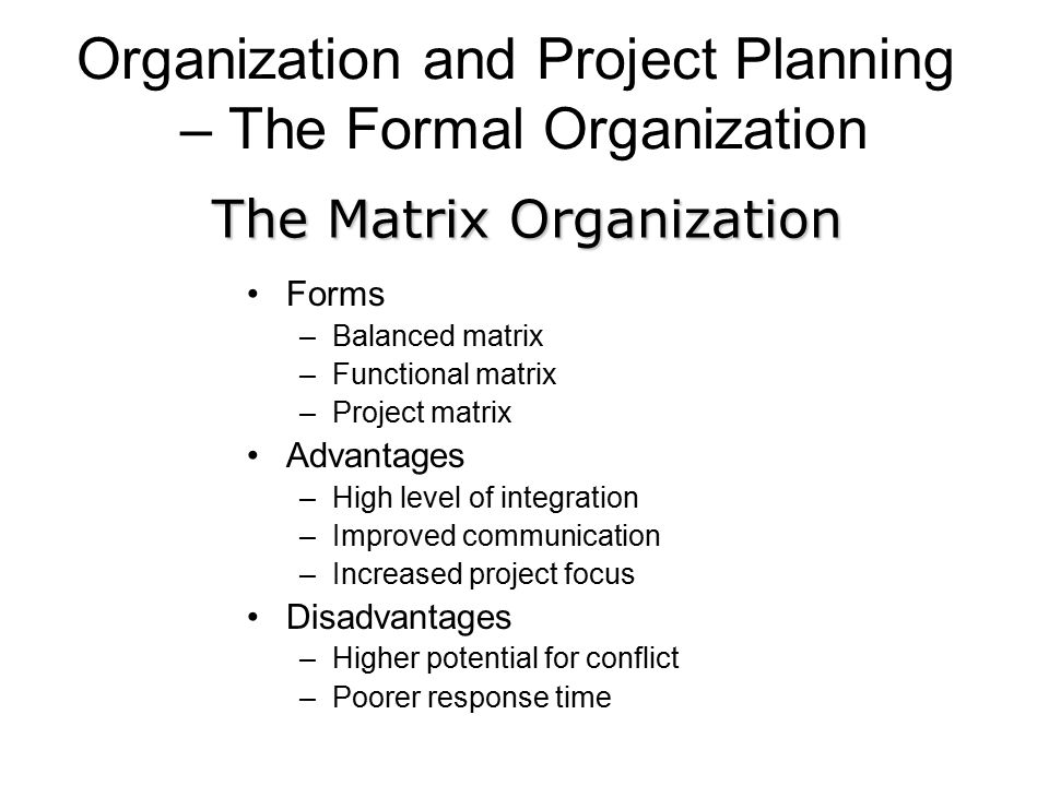 Organization and Project Planning – The Formal Organization