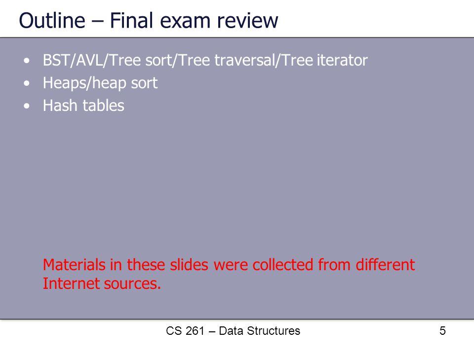 Outline – Final exam review