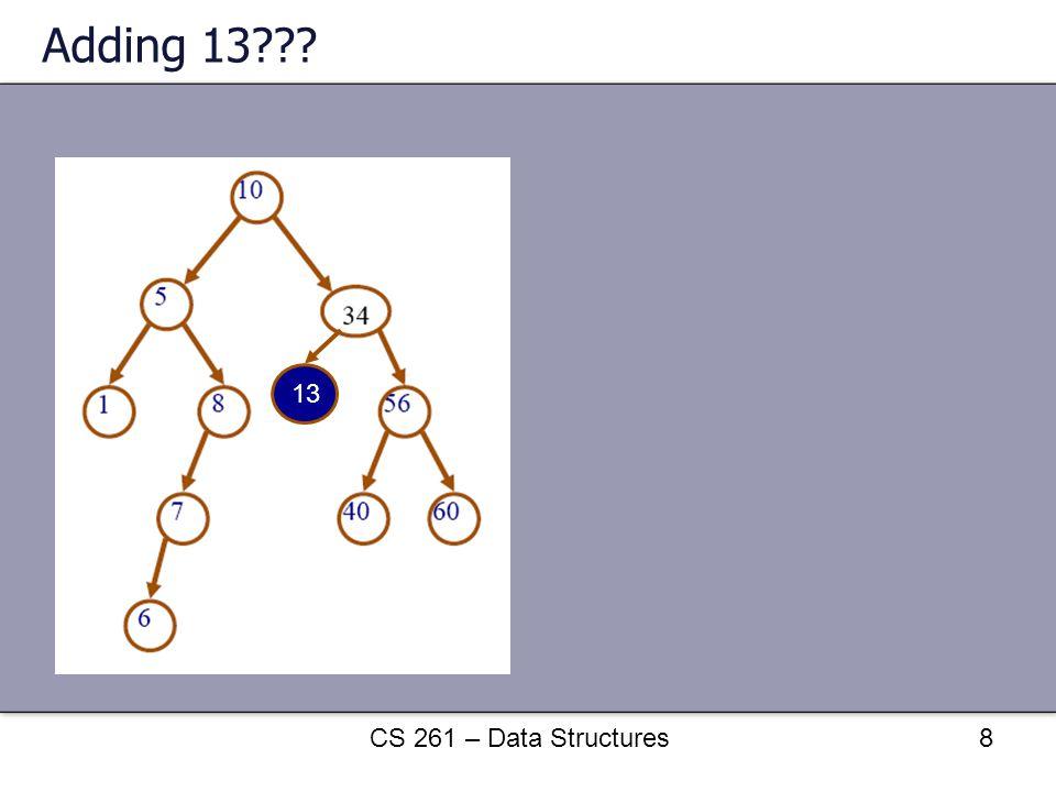 Adding 13 13 CS 261 – Data Structures