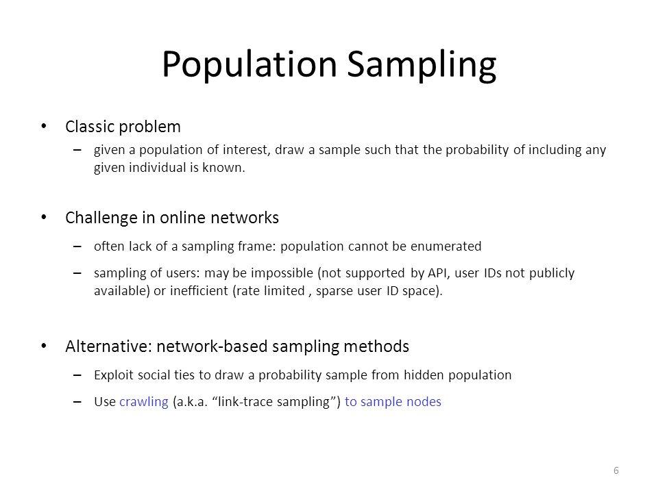 Population Sampling Classic problem Challenge in online networks