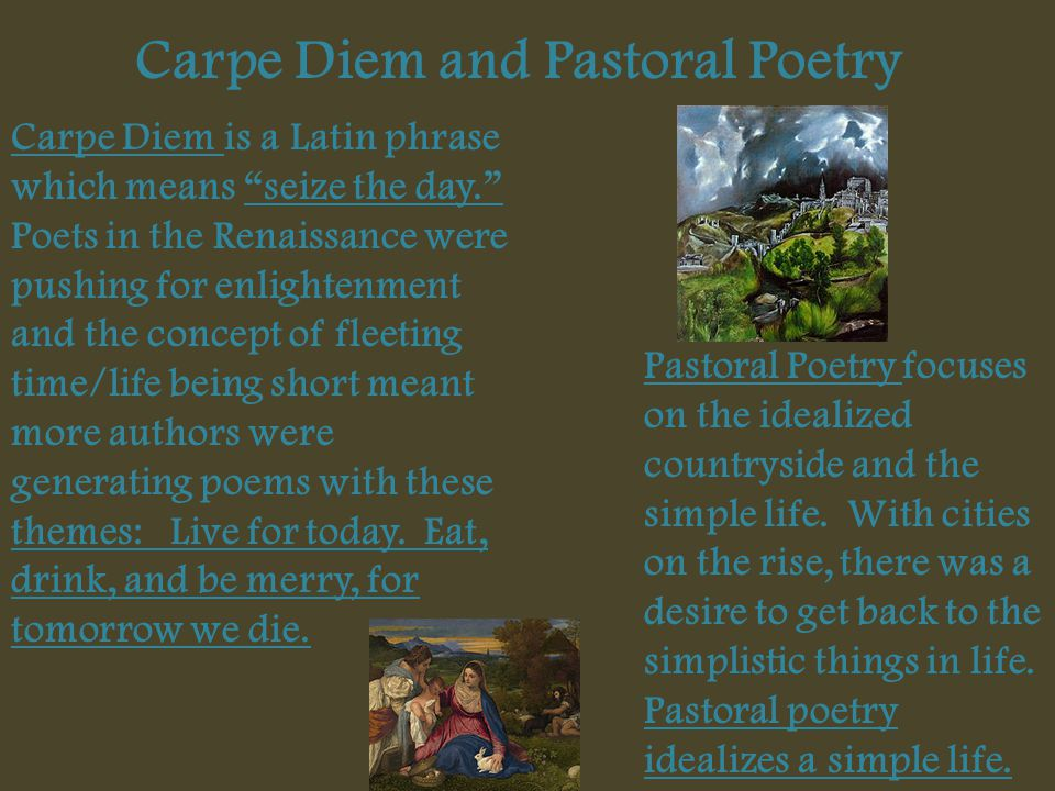 Carpe Diem and Pastoral Poetry