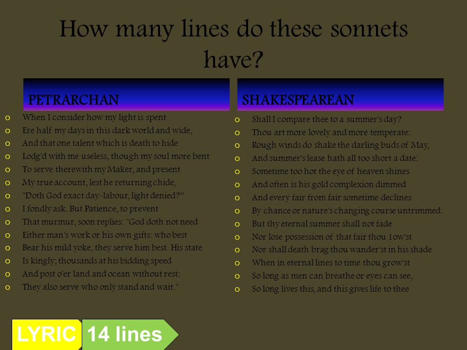 How many lines do these sonnets have