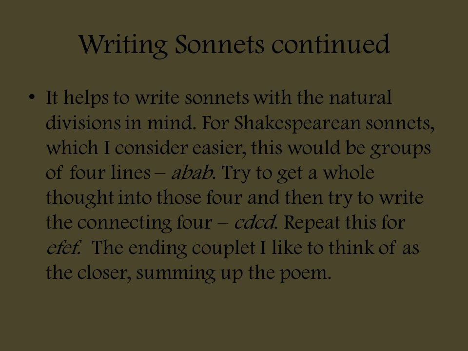 Writing Sonnets continued