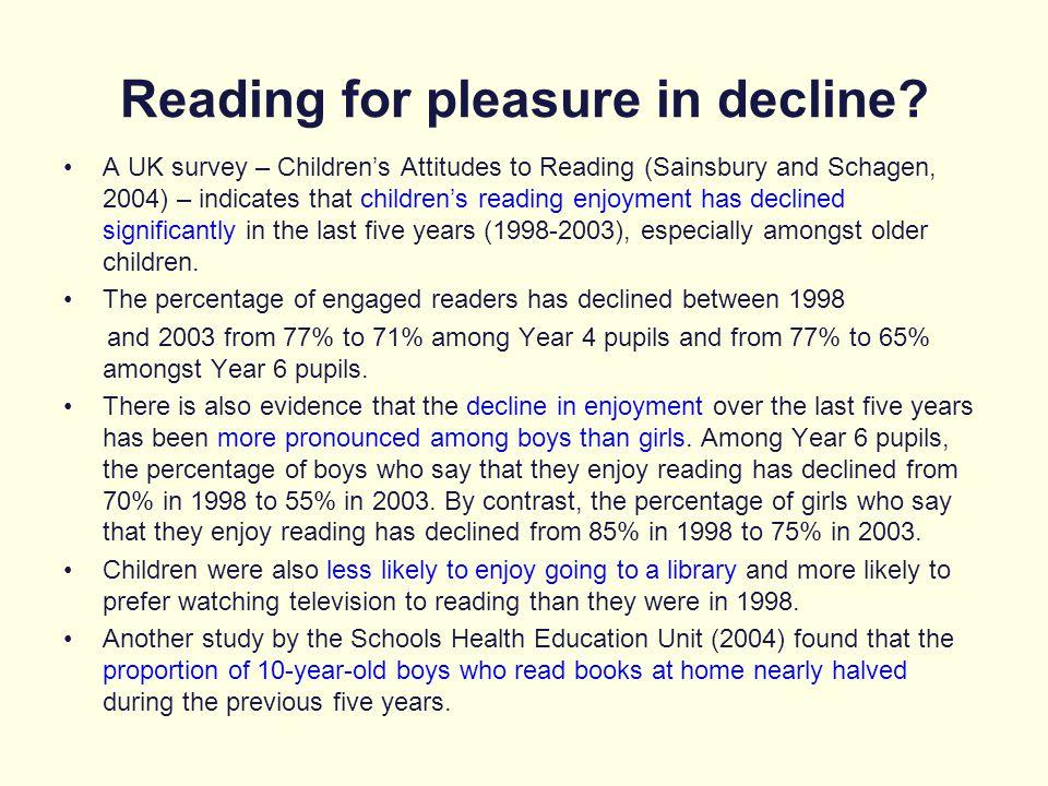 Reading for pleasure in decline
