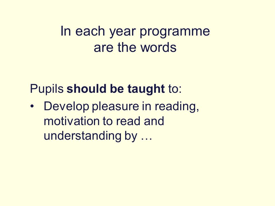 In each year programme are the words