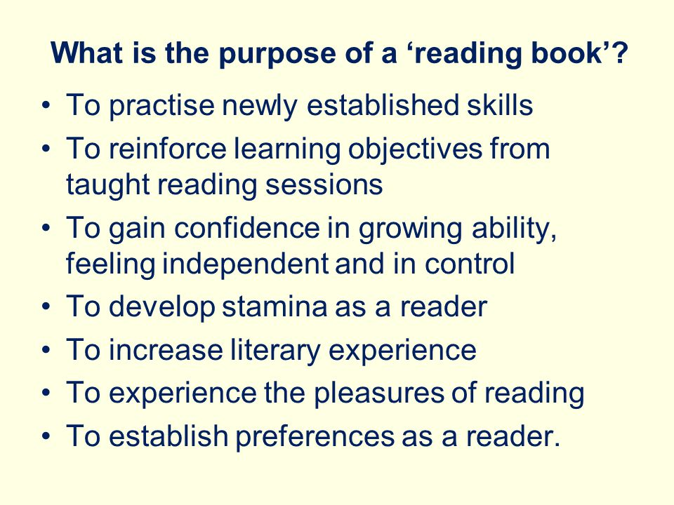 What is the purpose of a 'reading book'